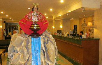 Santo Nino, greets visitors in the lobby of the Diplomat Hotel.