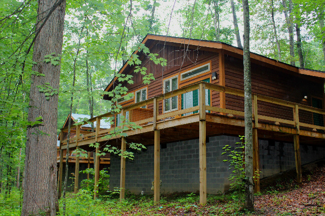 Sunnyside cabin, view from the woods.