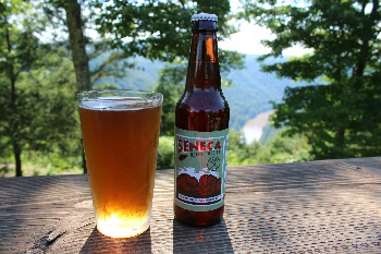 West Virginia craft beer ordered at Chetty's Pub with a porch that overlooks New River Gorge.