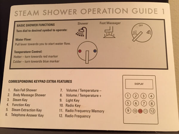 Shower instructions, Grande Rockies Resort, Canmore Alberta