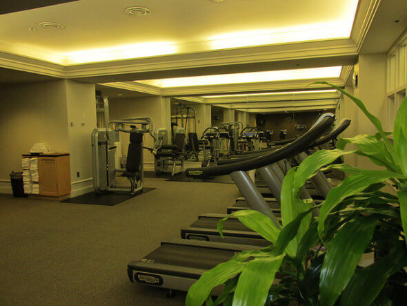 fitness room, indoor gym, fairmont hotel vancouver