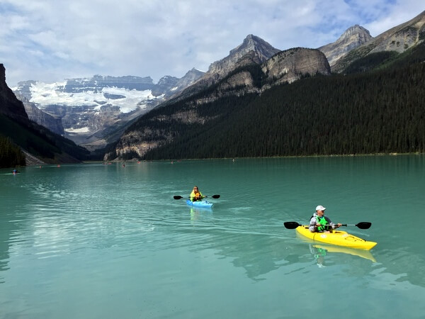 Kayakers, Lake Louise, Alberta, Canada