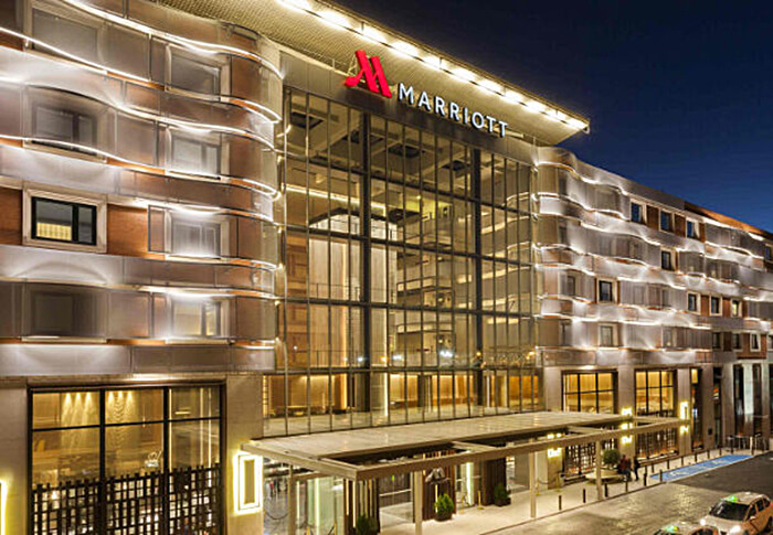 The exterior of the Madrid's Marriott Auditorium Hotel. photo courtesty Marriott Auditorium Hotel