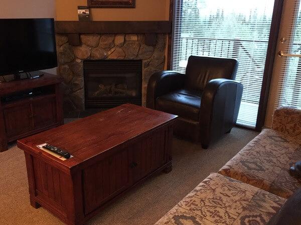 Living Room, Glacier Mountaineer Lodge, Kicking Horse Resort, BC Canada