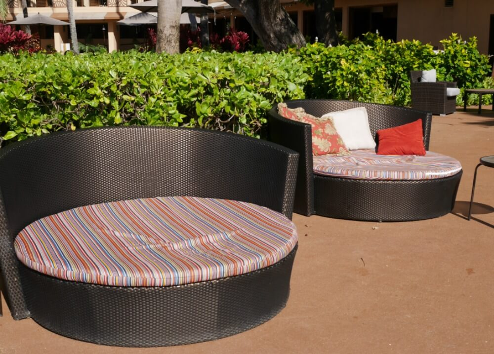 bed-style loungers by beach