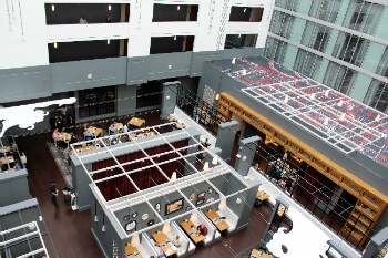 A view of the Gallerie Bistro from the 6th floor