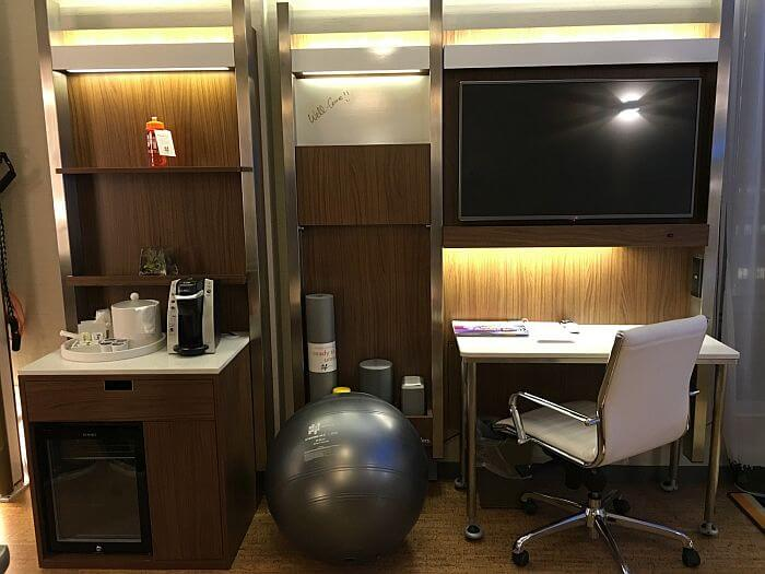 fitness training zone in rooms at EVEN Hotels New York