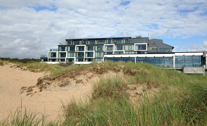 Hotel Tylosand from the beach in Sweden
