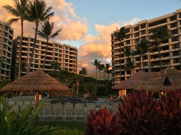 Exterior at sunset, Ka'anapali Ali'i Resort, Maui, Hawaii