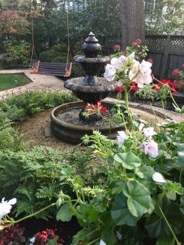 fountain, garden, beazley house, napa, california