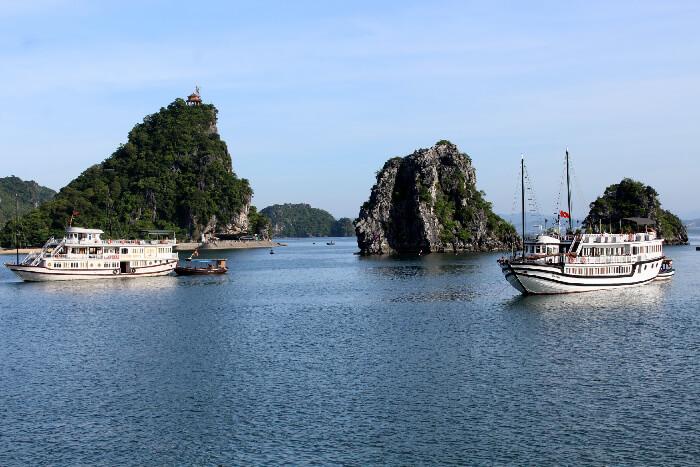 Boats anchored in Halong Bay