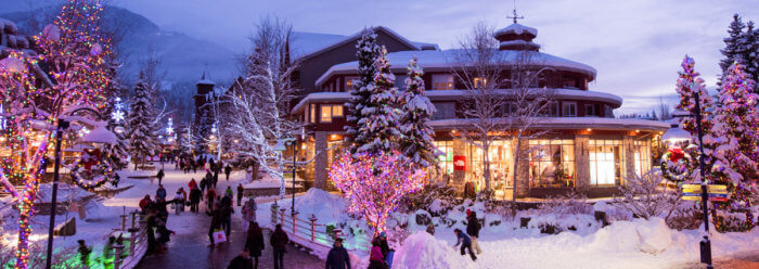 Dream of a white Canadian Christmas at Whistler village at dusk. Photo Credit: Tourism Whistler