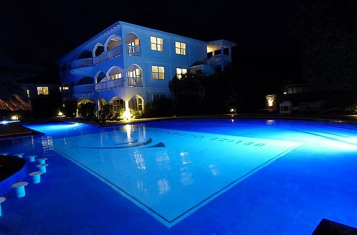 Belize Ocean Club pool at night
