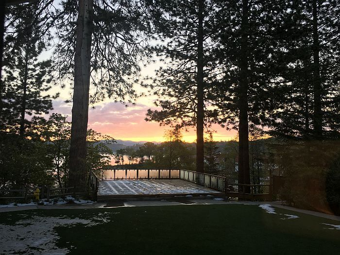 Sunrise view from Mounatin Side Room at Lake Arrowhead Resort