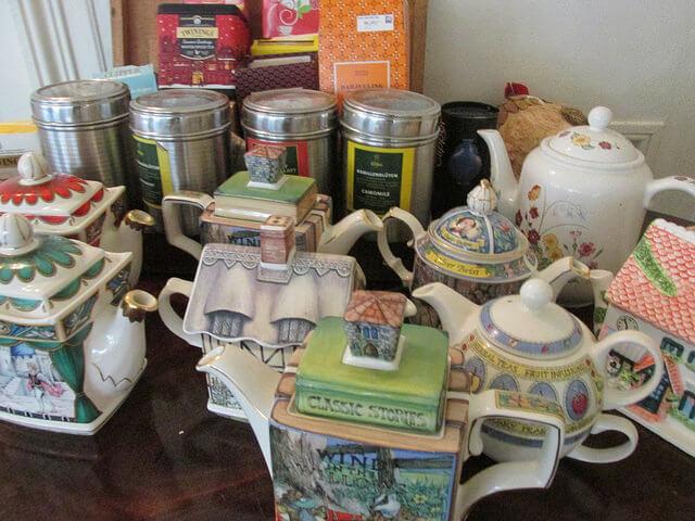 tea pots, afternoon tea, tea party, cashel house, ireland