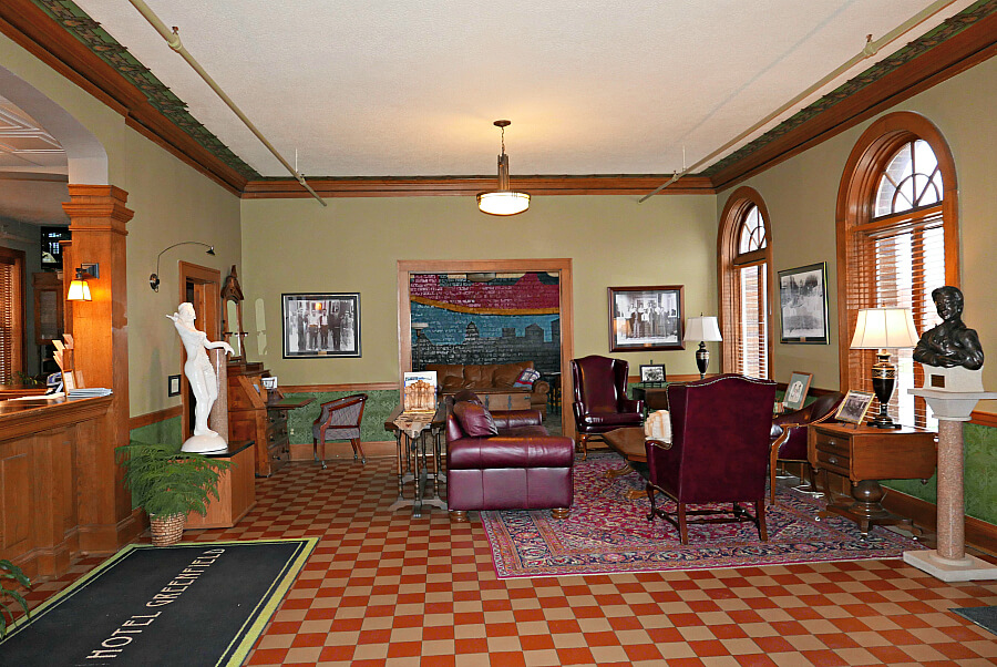 historic lobby of Hotel Greenfield Iowa