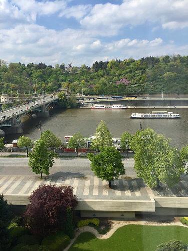 vtlava river, prague, czech republic, river view from intercontinental prague