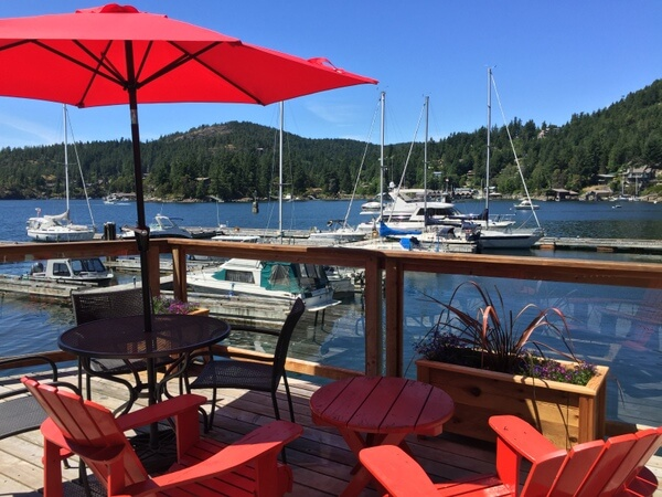 Deck, John Henry's resort, Sunshine Coast, BC