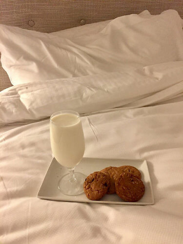 milk and cookies, room service, garden court hotel, palo alto, california