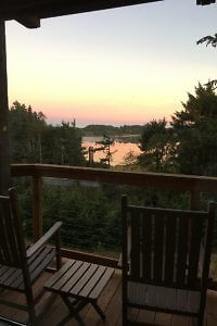 Sunset view from deck at Salishan Premier Room