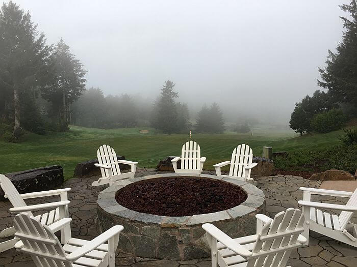 fire pit and golf course at Salishan Resort