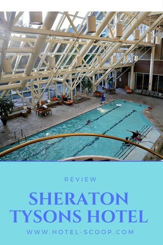 The indoor pool area at Sheraton Tysons Hotel is one of the more impressive ones that I've seen in a business hotel. With a high roof and lots of windows, it sort of reminded me of a green house.