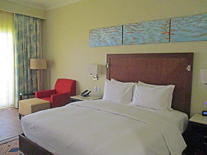 The well-appointed bedroom at the Hilton N'Djamena included free WiFi and bottled water. (Photo by Susan McKee)