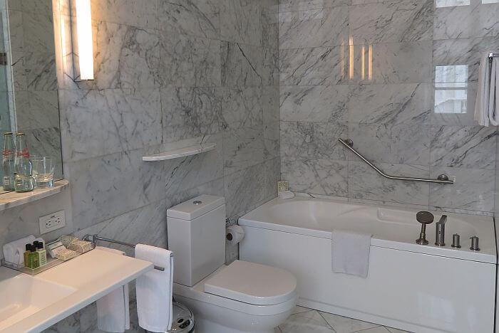 marble bathroom at Casa Gangotena