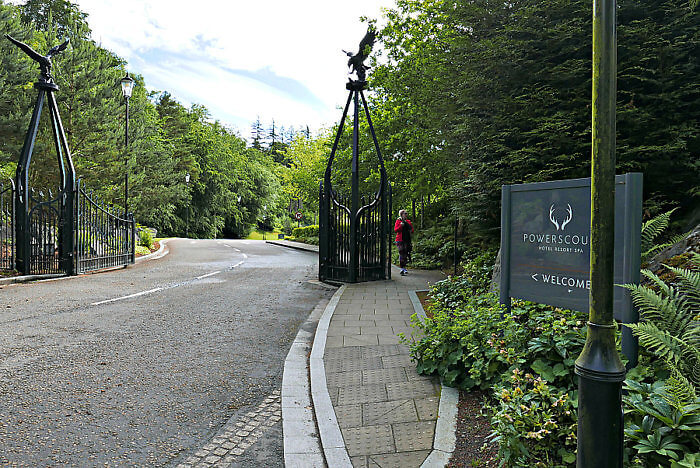 Entrance to the grand Powerscourt Hotel Resort Spa near Dublin, Ireland
