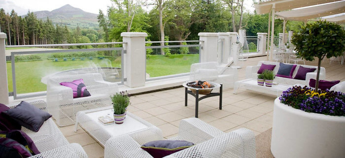 Don't resist stepping onto the outdoor terrace at Sika Restaurant inside the Powerscourt Hotel.