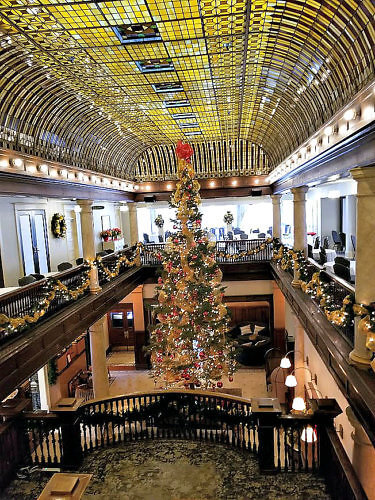 The lobby of the Hotel Boulderado decorated for the holidays.