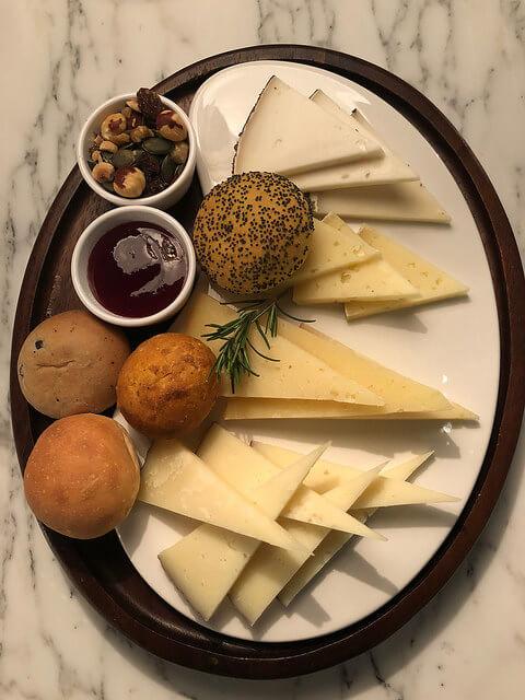 cheese plate, b24 restaurant, fairmont rey juan carlos, barcelona hotel, spain