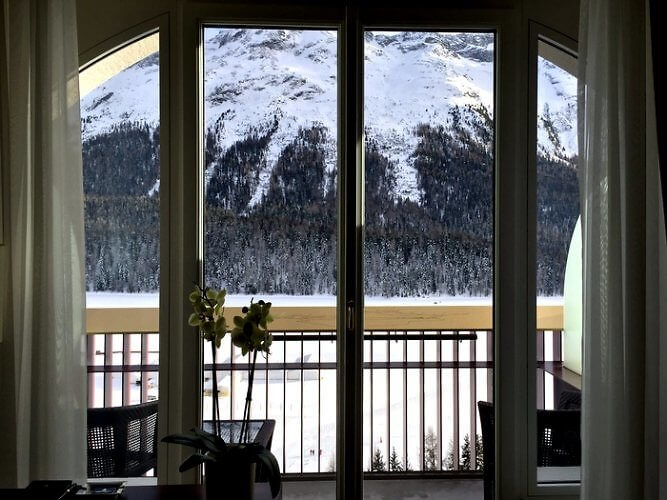 Guest room view, Badrutt's Palace Hotel, St. Moritz, Switzerland