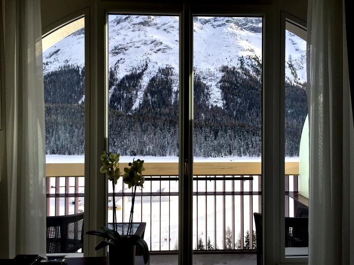 Guest room view, Badrutt's Palace Hotel, St. Moritz, Switzerland