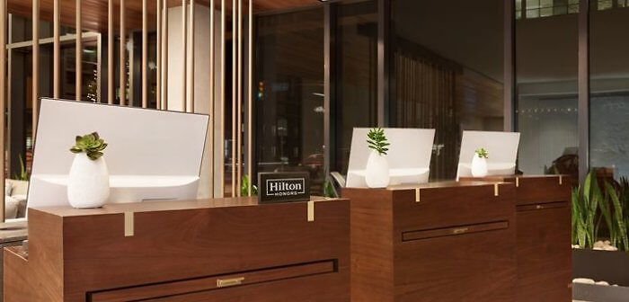 The reception desk of the Embassy Suites by Hilton Boulder, Colorado