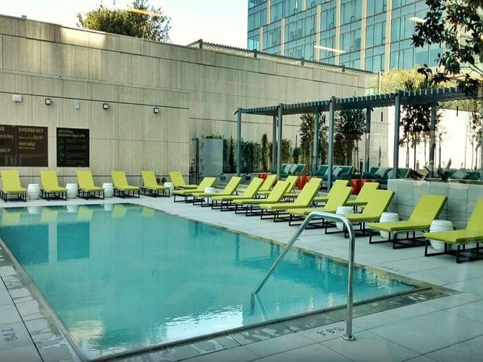 Pool deck at Hotel Indigo Los Angeles Downtown
