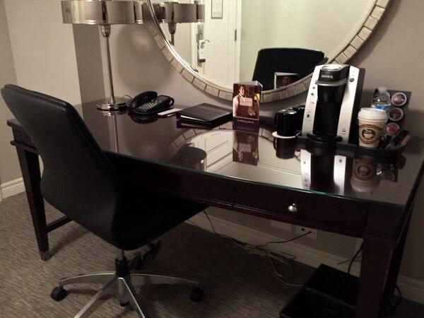 Work desk, Omni King Edward Hotel, Toronto, Ontario, Canada