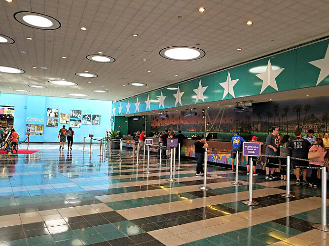 Lobby of Disney's All-Star Movies Resort -- not nearly as crowded early in the morning as check-in time.