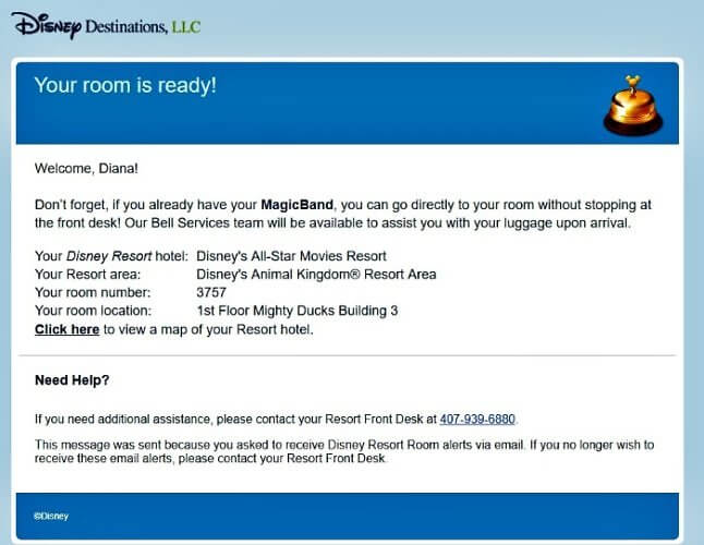 MyDisneyExperience will email you when your room is ready at Disney resorts.