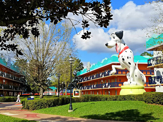 Larger than life statues of 101 Dalmations at the Disney's All-Star Movies Resort