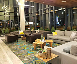 Beautiful open lobby of the Embassy Suites by Hilton Boulder, Colorado
