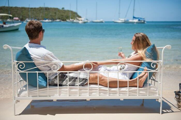 Antigua Inn at English Harbour couple enjoy beach view