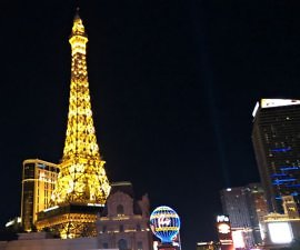exterior of paris las vegas at night