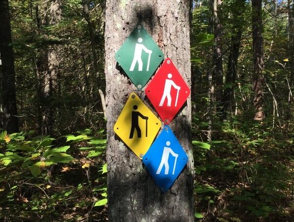 Trail markers, Samuel de Champlain Provincial Park, Mattawa, Ontario, Canada