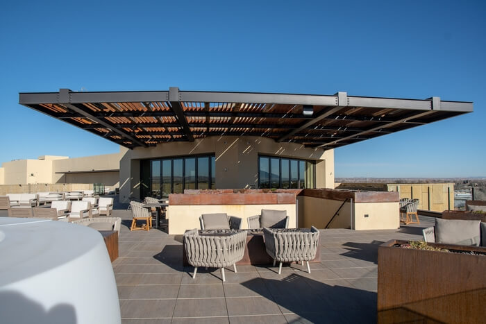Hotel Chaco in Albuquerque provides panoramic views from its rooftop bar.