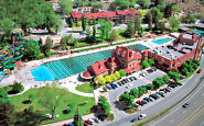 Aerial view of Glenwood Hot Springs Resort -- and the Glenwood Hot Springs pool is the size of a football field. Photo: Glenwood Hot Springs
