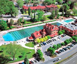 Aerial view of Glenwood Hot Springs Resort -- and the Glenwood Hot Springs pool is the size of a football field. Photo: Glenwood Hot Springs