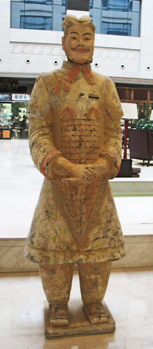 Replica terracotta warrior, Wyndham Grand Xi'an South, China (Photo by Susan McKee)