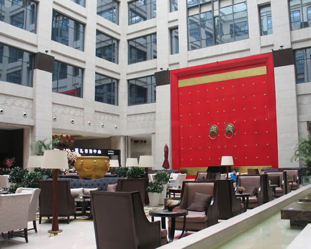 Lobby of Wyndham Grand Xi'an Hotel, China (Photo by Susan McKee)