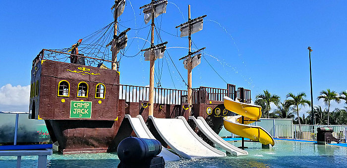 Camp Jack -- Kids' camp at Panama Jack Resorts Cancun includes a fun pirate-themed slide area.